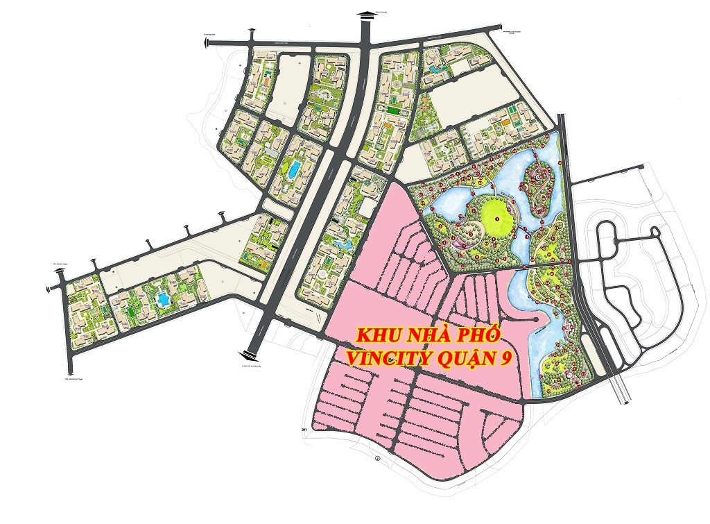 Vị trí Nhà phố Vinhomes Quận 9 trong tổng thể Dự án Vinhomes Quận 9