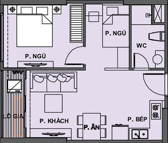 Mặt bằng Căn hộ 1 phòng ngủ + 1 Vinhomes Grand Park Quận 9