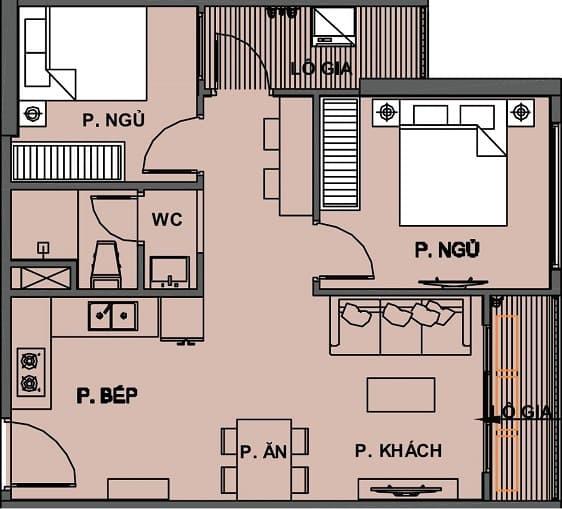 Mặt bằng Căn hộ 2 Phòng Ngủ +1 1 WC Vinhomes Grand Park