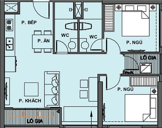 Mặt bằng Căn hộ 2 Phòng Ngủ +1 2 WC Vinhomes Grand Park