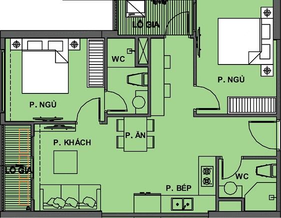 Mặt bằng Căn hộ 2 phòng ngủ 2WC Vinhomes Grand Park Quận 9