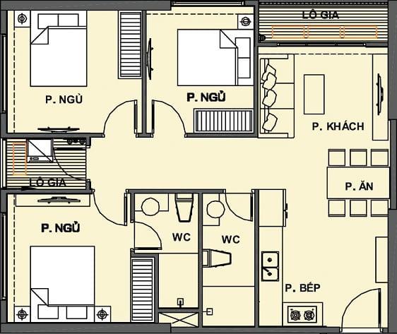 Mặt bằng Căn hộ 3 phòng ngủ Vinhomes Grand Park Quận 9