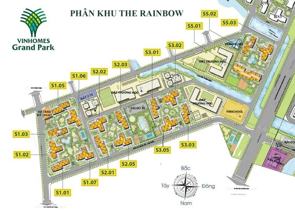 Vị trí các tòa thuộc phân khu The Rainbow Vinhomes Grand Park Quận 9