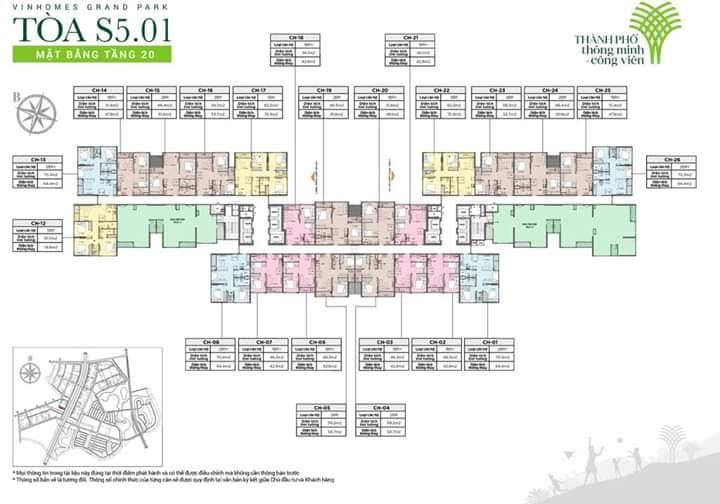 Mặt bằng tầng tòa s5.01 Vinhomes Grand Park Quận 9