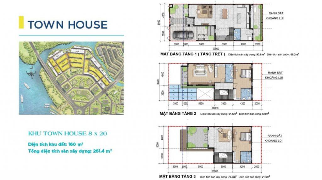 Mặt bằng và thiết kế Nhà phố Aqua City Novaland Đồng Nai
