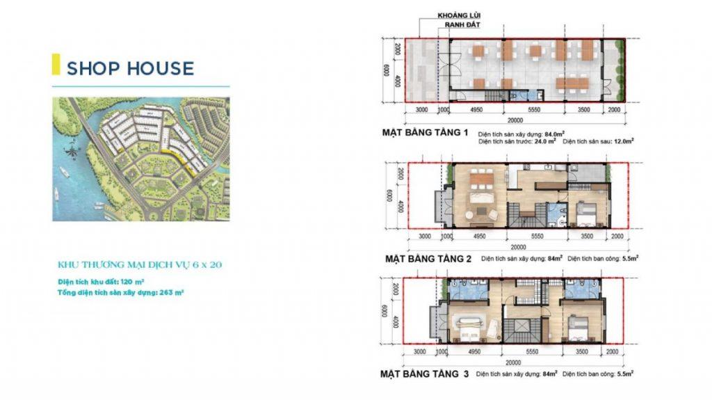 Mặt bằng và thiết kế Shophouse Aqua City Novaland Đồng Nai