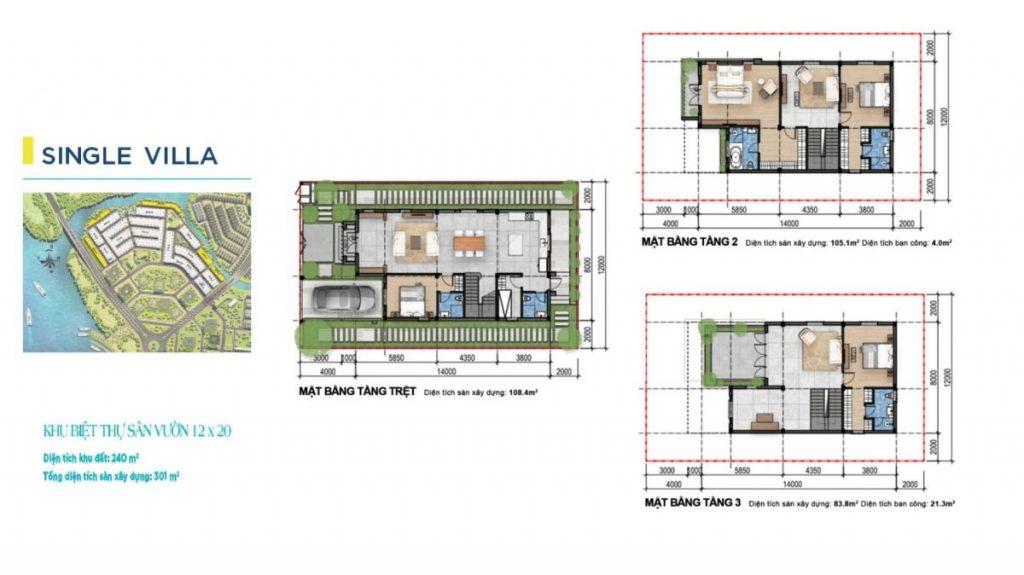 Mặt bằng và thiết kế Biệt thự đơn lập Aqua City Novaland Đồng Nai