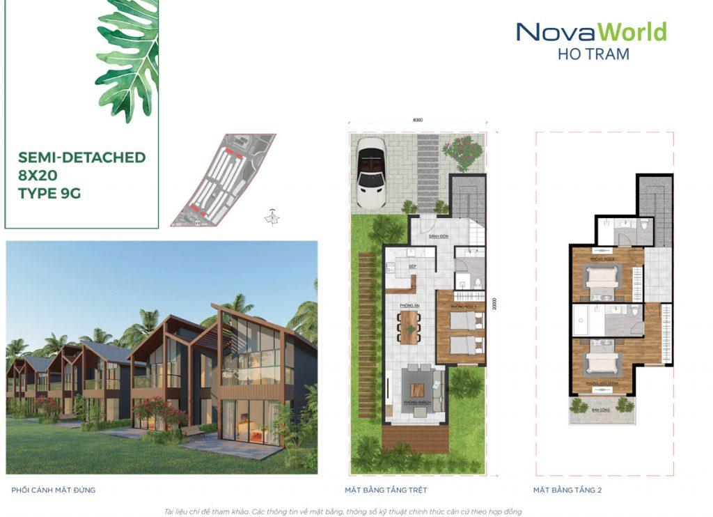 Mặt bằng và Thiết kế Biệt thự song lập 8x20m NovaWorld Hồ Tràm