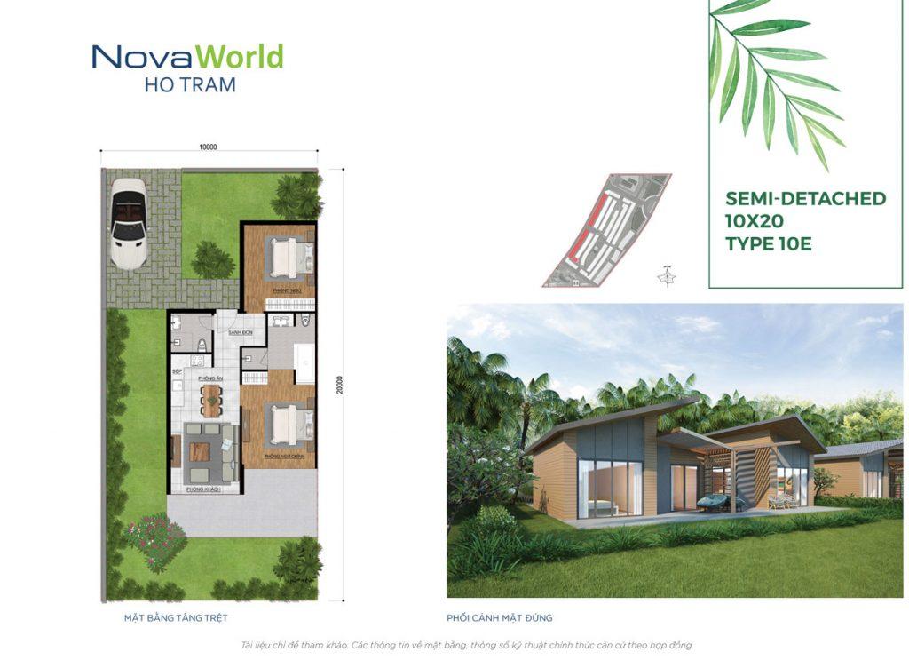 Mặt bằng và Thiết kế Biệt thự song lập 10x20m NovaWorld Hồ Tràm
