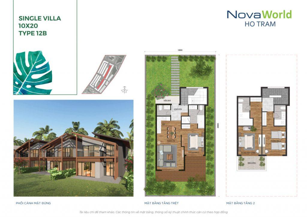 Mặt bằng và Thiết kế Biệt thự đơn lập 10x20m NovaWorld Hồ Tràm