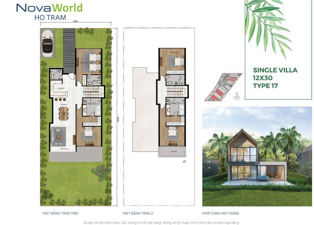 Mặt bằng và Thiết kế Biệt thự đơn lập 12x30m NovaWorld Hồ Tràm