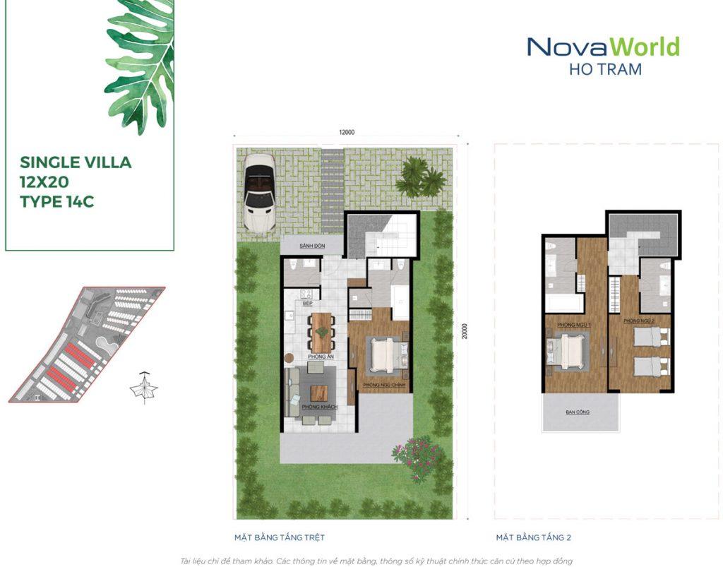 Mặt bằng và Thiết kế Biệt thự đơn lập 12x20m NovaWorld Hồ Tràm
