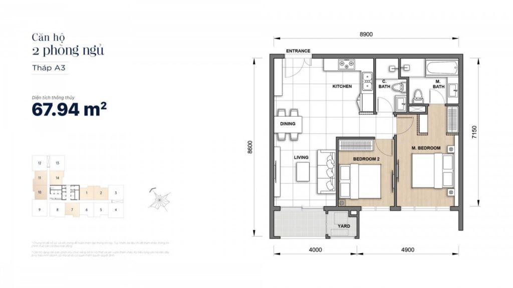 Mặt bằng căn hộ 2 Phòng ngủ 67,94m2 Grand Manhattan Novaland Quận 1