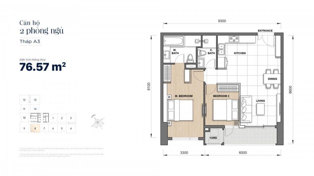 Mặt bằng căn hộ 2 Phòng ngủ 76,57m2 Grand Manhattan Novaland Quận 1
