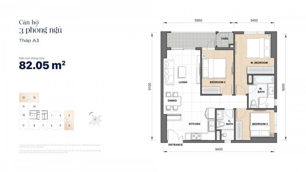 Mặt bằng căn hộ 3 Phòng ngủ 82,05m2 Grand Manhattan Novaland Quận 1