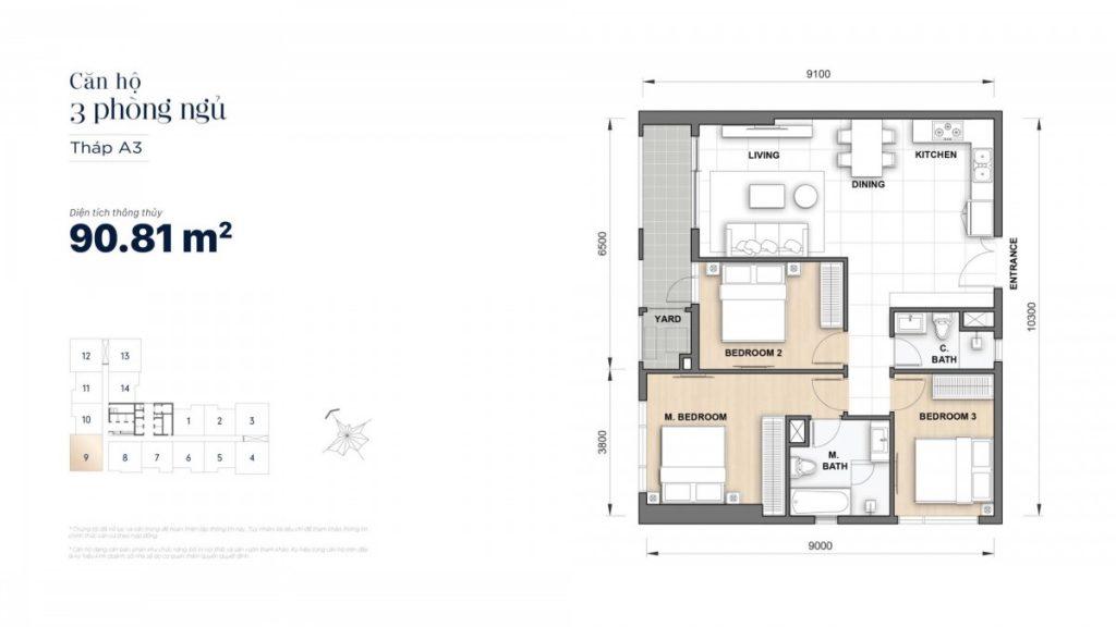 Mặt bằng căn hộ 3 Phòng ngủ 90,81m2 Grand Manhattan Novaland Quận 1