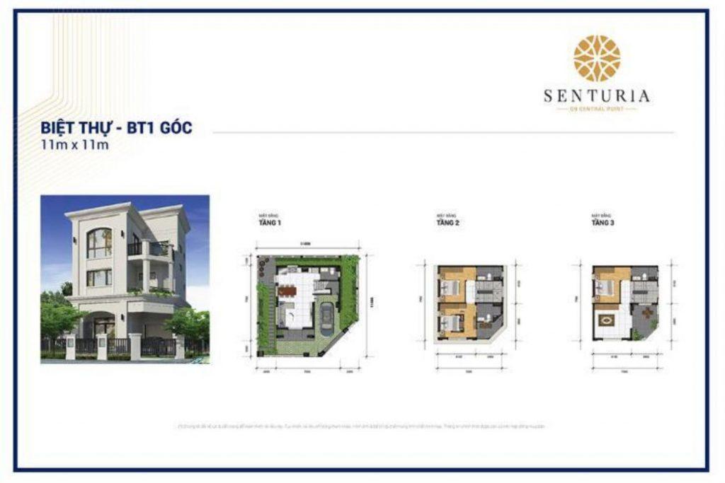 Mặt bằng và Thiết kế Biệt thự góc diện tích 11x11m Senturia Central Point Quận 9