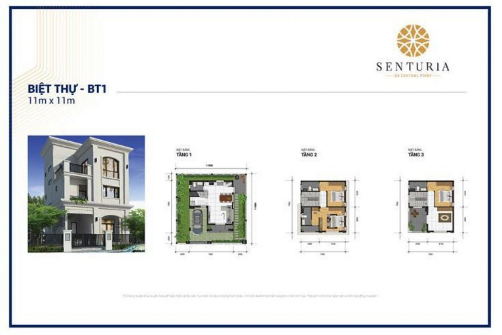Mặt bằng và Thiết kế Biệt thự diện tích 11x11m Senturia Central Point Quận 9