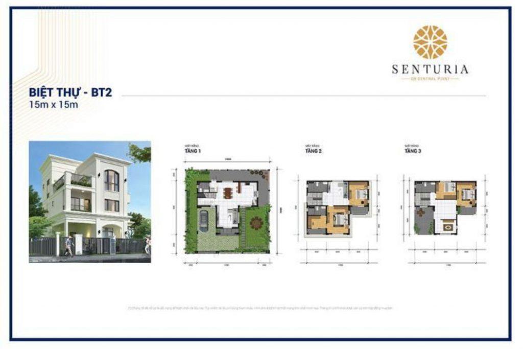 Mặt bằng và Thiết kế Biệt thự diện tích 15x15m Senturia Central Point Quận 9