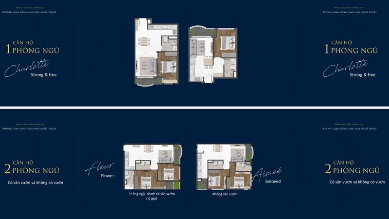 Mặt bằng 1 và 2 Phòng ngủ tại Grand Central Quận 3