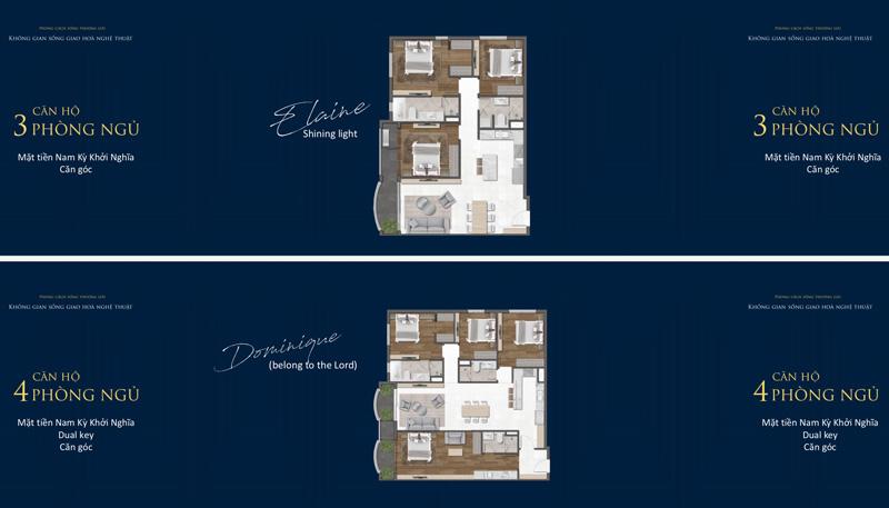 Mặt bằng 3 và 4 Phòng ngủ tại Grand Central Quận 3