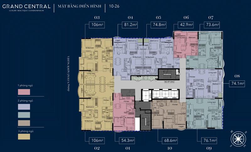 Mặt bằng tầng điển hình từ tầng 10 đến tầng 26 tại Grand Central Quận 3