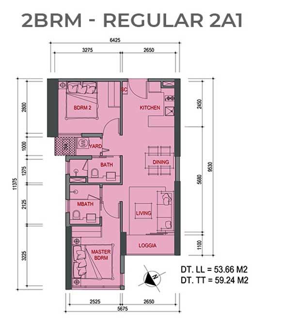 Mặt bằng căn hộ 2 Phòng ngủ Metro Star Quận 9 Regular 2A1