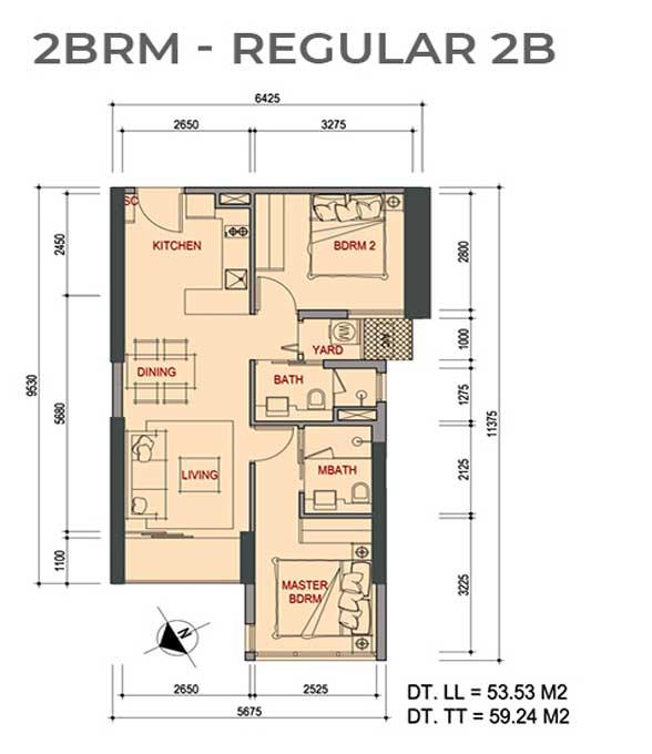 Mặt bằng căn hộ 2 Phòng ngủ Metro Star Quận 9 Regular 2B