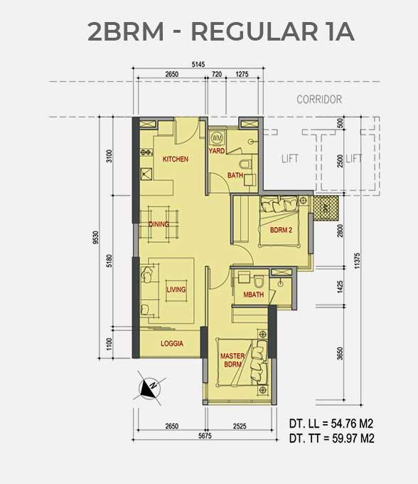 Mặt bằng căn hộ 2 Phòng ngủ Metro Star Quận 9 Regular 1A