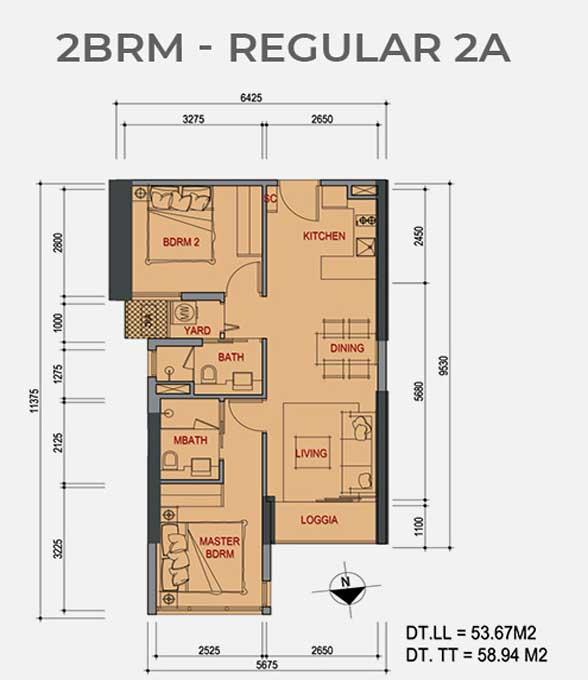 Mặt bằng căn hộ 2 Phòng ngủ Metro Star Quận 9 Regular 2A
