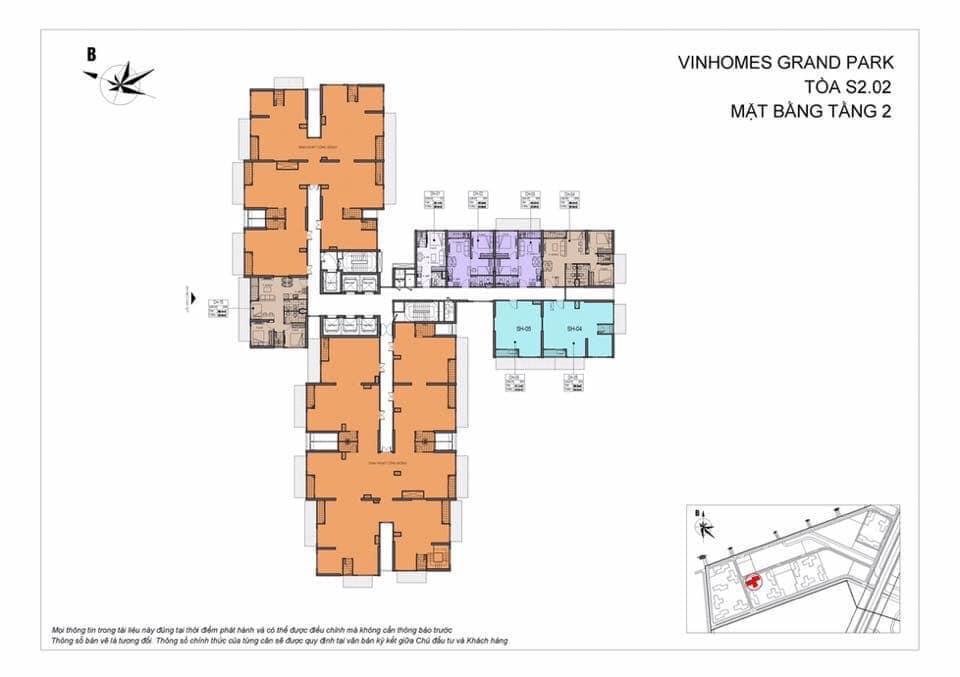 Mặt Bằng Shophouse Vinhomes Grand Park Quận 9 Tòa S2.02 Tầng 2