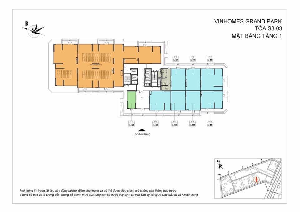Mặt Bằng Shophouse Vinhomes Grand Park Quận 9 Tòa S3.03 Tầng 1