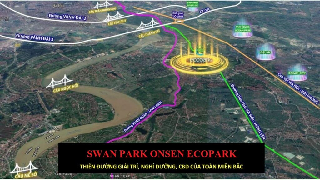 Giao thông Swan Park Onsen Ecopark hoàn thiện với nhiều tuyến đường lớn
