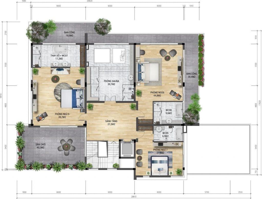 Mặt bằng chi tiết thiết kế tầng 3 mẫu biệt thự The Azura