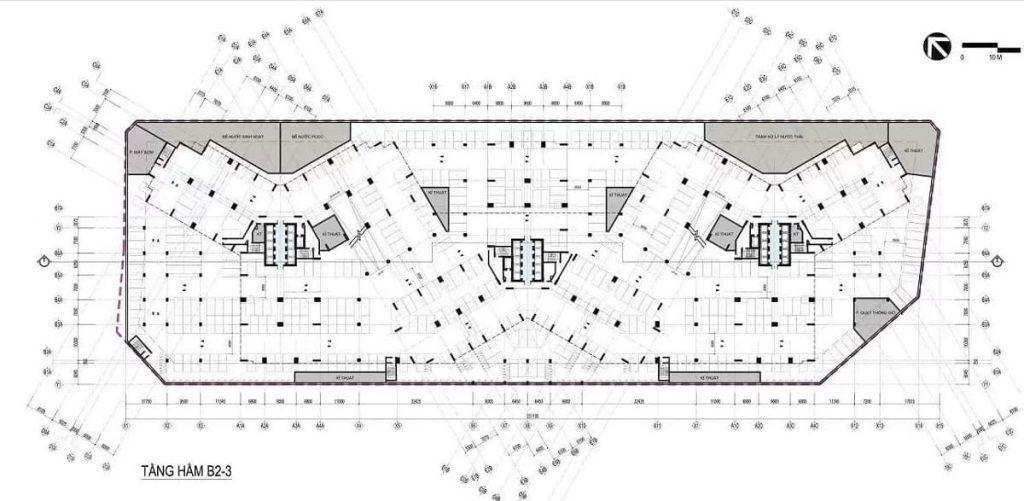 Mặt bằng tầng hầm các tòa tháp chung cư