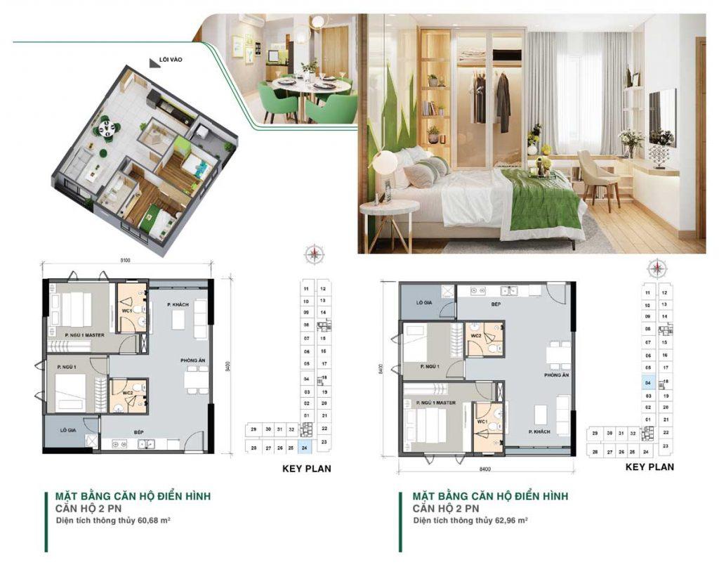 Mặt bằng thiết kế căn 2 phòng ngủ mẫu 1