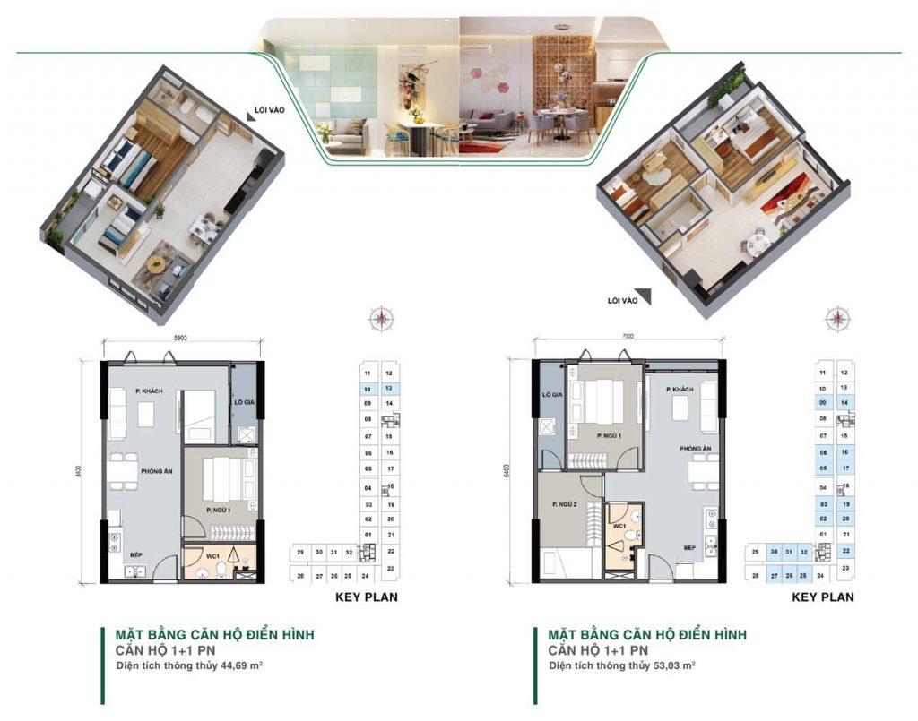 Mặt bằng thiết kế mẫu căn 1 + 1 phòng ngủ dự án