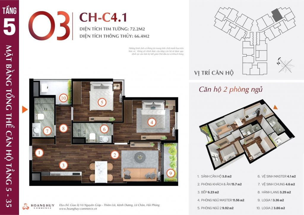 Mặt bằng xây dựng căn 2 phòng ngủ mẫu 1
