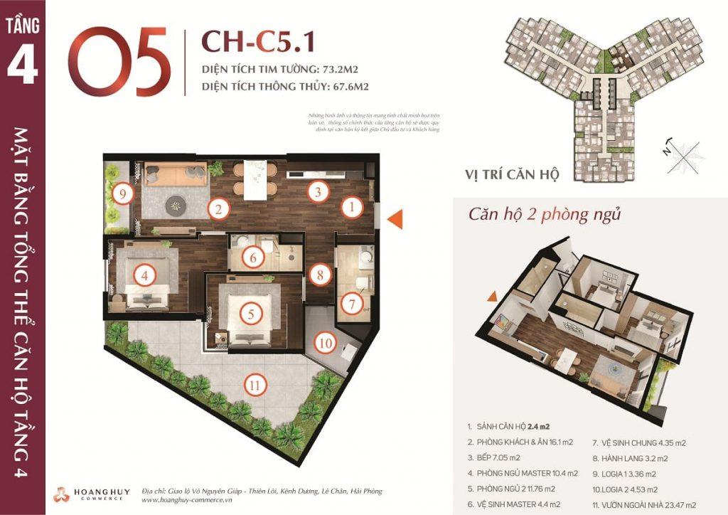 Mặt bằng xây dựng căn 2 phòng ngủ sân vườn tầng 4
