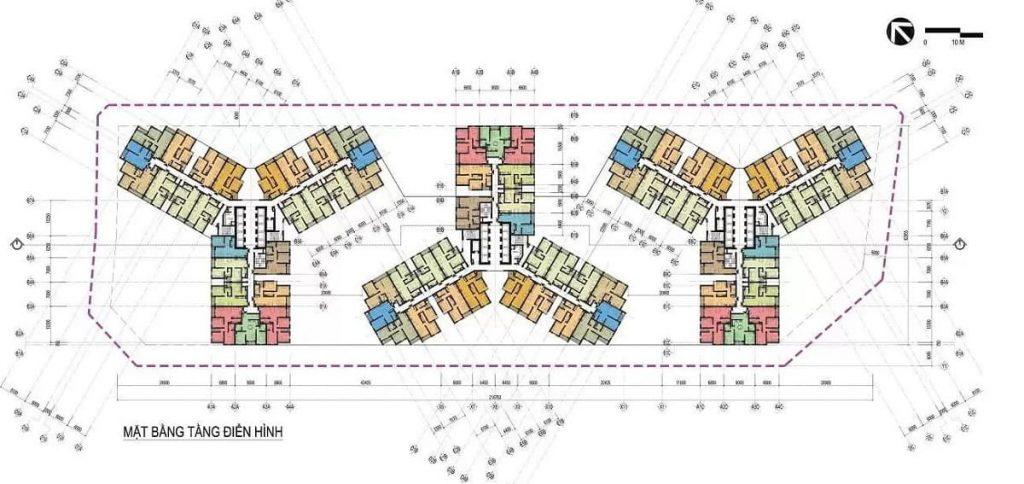 Mặt bằng xây dựng căn hộ điển hình các tòa tháp dự án