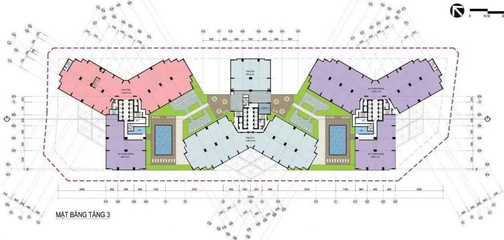 Mặt bằng xây dựng chi tiết tầng 3 các tòa tháp
