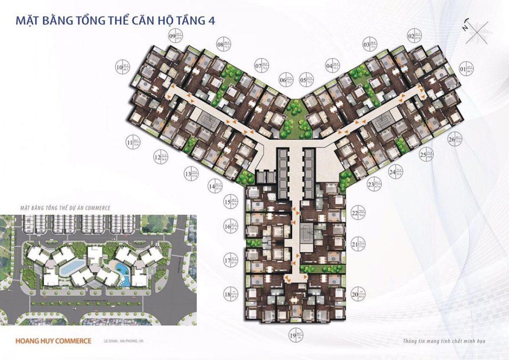 Mặt bằng xây dựng điển hình tầng 4 các tòa tháp