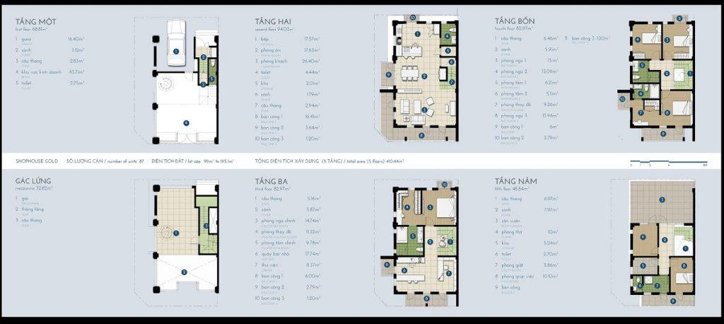 Mẫu Shophouse điển hình 99m2 với mặt bằng công năng thiết kế tối ưu, thông thoáng