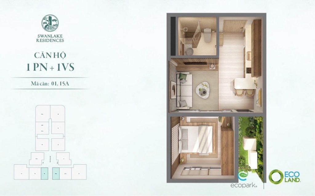 Mẫu căn hộ 1PN + 1WC khác tại dự án