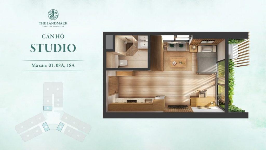 Thiết kế mặt bằng căn Studio điển hình tại Swan Park Onsen Ecopark